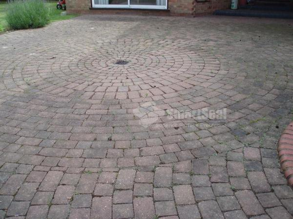 Rear block paved patio area before cleaning